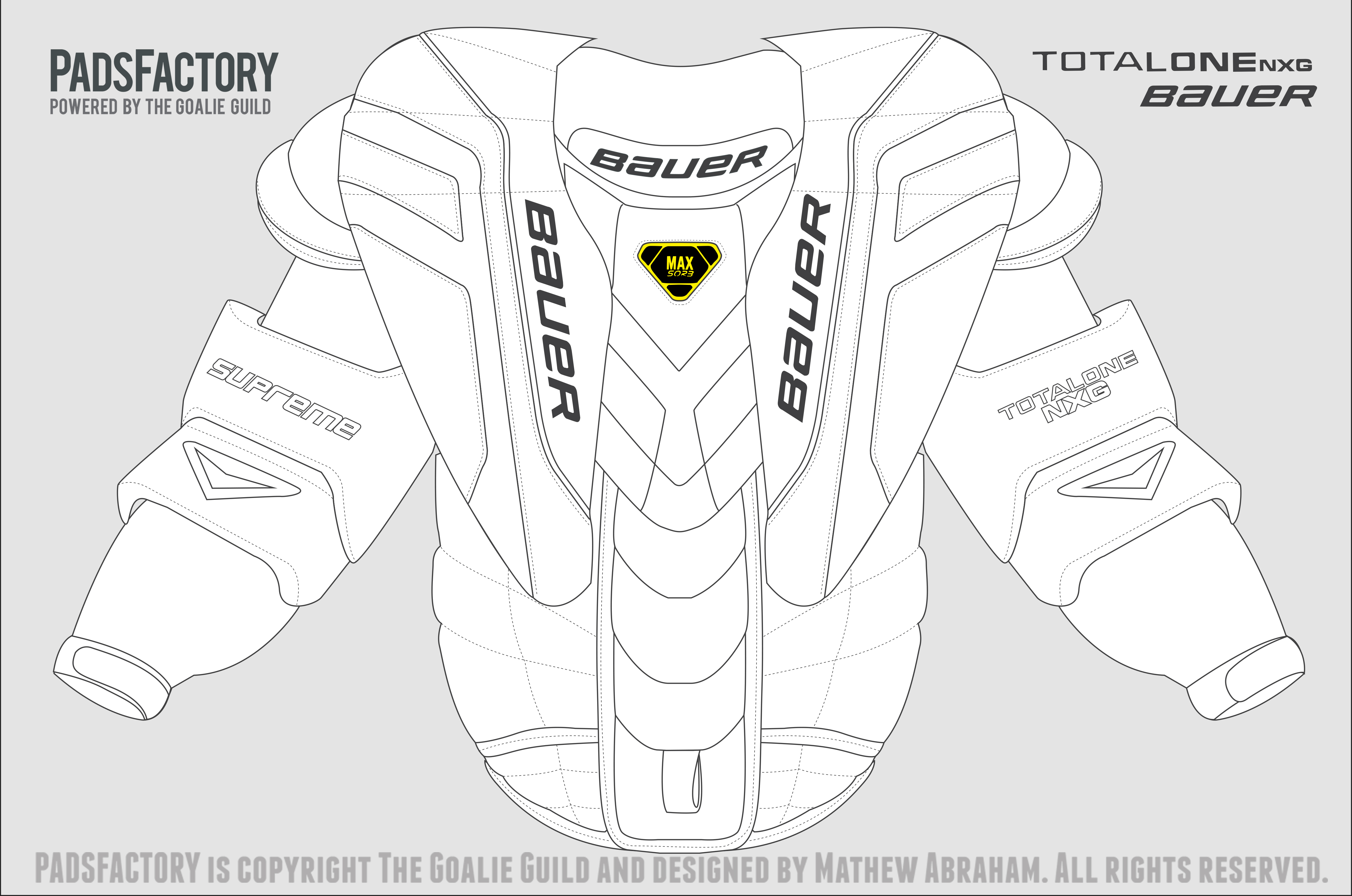 Chest arm pad templates the goalie archive for Bauer goalie mask template