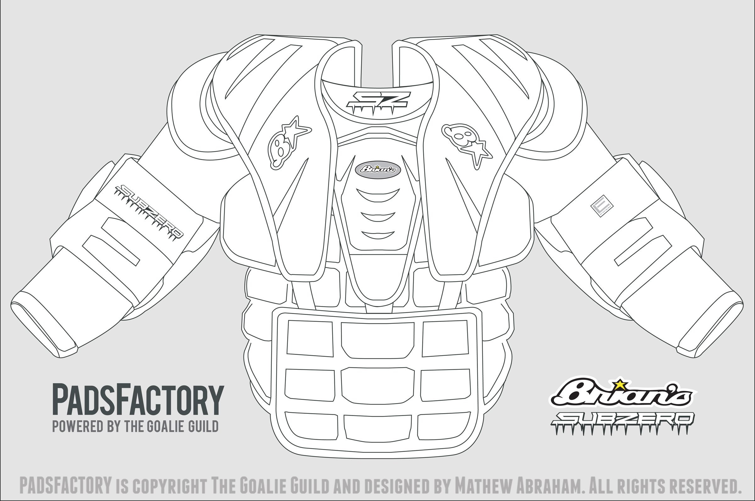 chest amp arm pad templates � the goalie archive