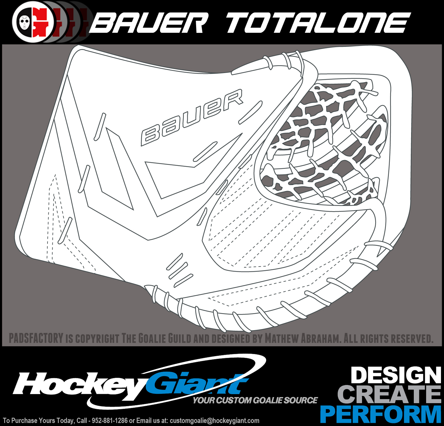 Pads glove templates the goalie archive for Bauer goalie mask template